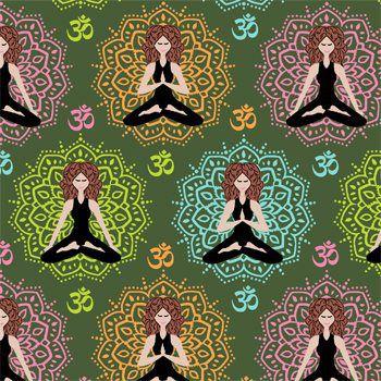 Tecido Tricoline Estampa Ioga e Meditação - Fundo Verde - Coleção Namastê - Preço de 50 cm X 150 cm