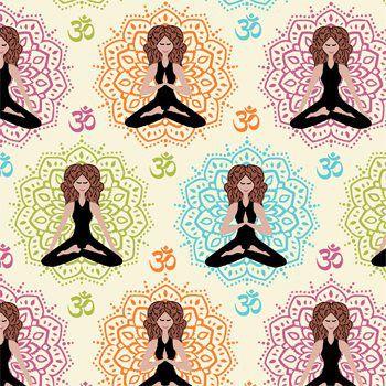 Tecido Tricoline Estampa Ioga e Meditação - Fundo Creme - Coleção Namastê - Preço de 50 cm X 150 cm
