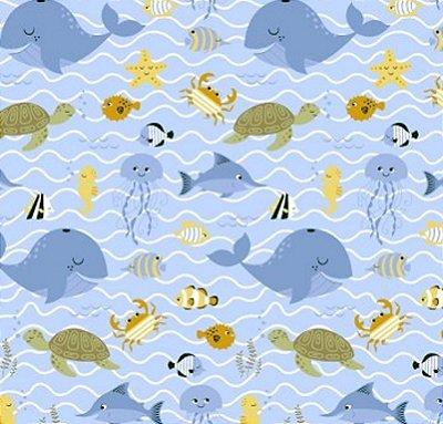 Tecido Tricoline com Estampa de Fundo do Mar (Fundo Azul) - Preço de 50 cm X 150 cm