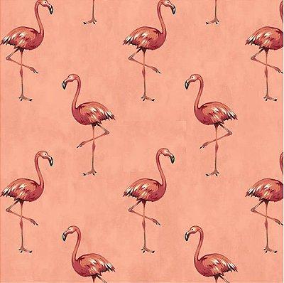 Tecido Tricoline com Estampa de Flamingo (Fundo Rosê) - Coleção Sweet Dreams - Corte Mínimo 50 cm X 150 cm