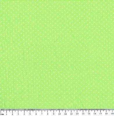 Tecido Tricoline Estampa Poá Branco com Fundo Verde Limão - Preço de 50cm x 150cm