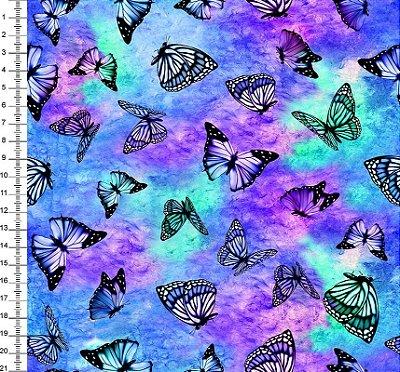 Tecido Digital - Borboletas Aurora Boreal - Preço de 50cm x 150cm
