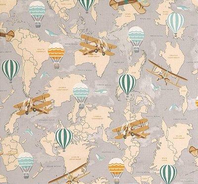 Tecido Tricoline Mapas, Aviões e Balões - Preço de 50 cm X 150 cm