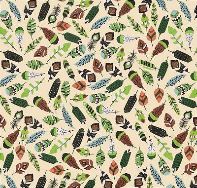 Tecido Tricoline com Estampa Penas Verdes e Marrons - Preço de 50 cm X 150 cm
