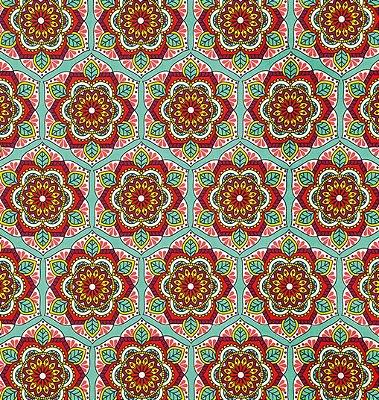 Tecido Tricoline com Estampa de Mandalas - Preço de 50 cm X 150 cm