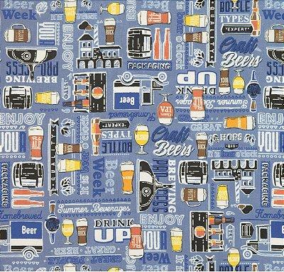 Tecido Tricoline Cervejas e Drinks - Fundo Azul - Preço de 50cm x 150cm