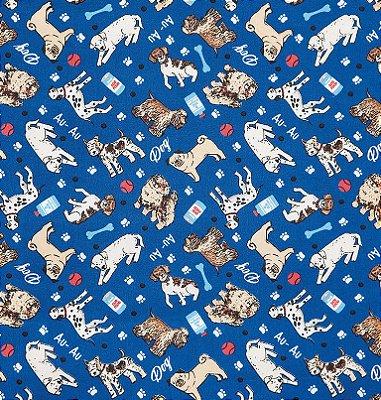 Tecido Tricoline Cachorros - Fundo Azul Royal - Preço de 50 cm X 150 cm