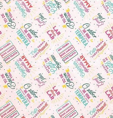 Tecido Tricoline com Estampa de Frases de Cozinha - Fundo Rosa - Preço de 50 cm X 150 cm