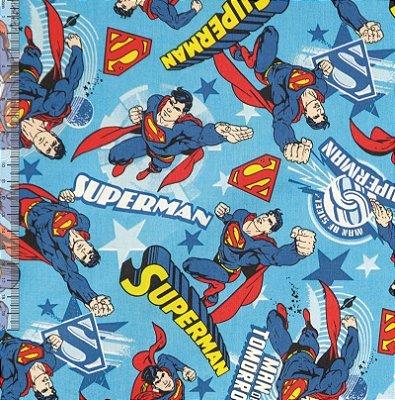 Tecido Tricoline com Estampa do Super Man ou Super Homem - Preço de 50 cm X 150 cm