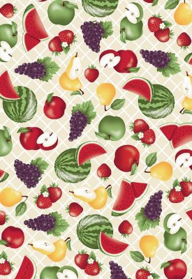 Tecido Tricoline Frutas: Maçã, Melancia, Morango, Pêra e Uva - Fundo Creme - Preço de 50 cm X 150 cm