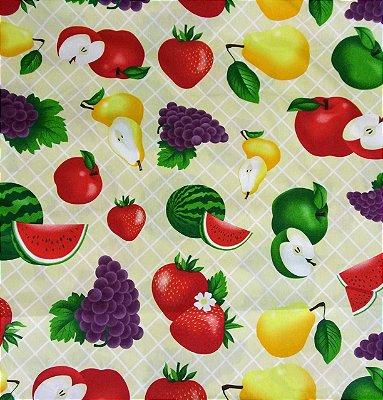 Tecido Tricoline Frutas Grandes: Maçã, Melancia, Morango, Pêra e Uva - Fundo Creme - Preço de 50 cm X 150 cm