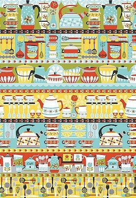 Tecido Tricoline Estampa de Barrados Utensílios de Cozinha - Preço de 50 cm X 146 cm