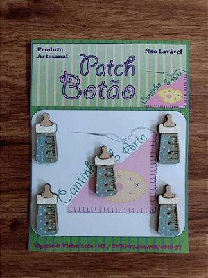 Patch Botão MDF (Não lavável) - Mamadeira Azul - (3 cm) - Pacote com 5 unidades
