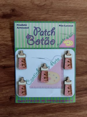 Patch Botão MDF (Não lavável) - Mamadeira Rosa - (3 cm) - Pacote com 5 unidades