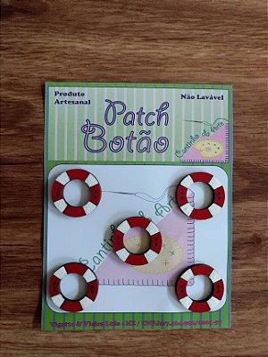 Patch Botão MDF (Não lavável) - Boia Salva Vidas - (2,5 cm) - Pacote com 5 unidades