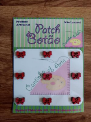Patch Botão MDF (Não lavável) - Mini Laço - (0,8 cm) - Pacote com 9 unidades