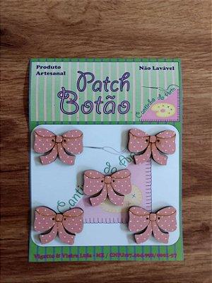 Patch Botão MDF (Não lavável) - Laço - (2 cm) - Pacote com 5 unidades