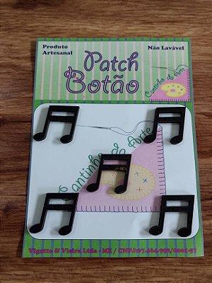 Patch Botão MDF (Não lavável) - Nota Musical 1 - (2 cm) - Pacote com 5 unidades