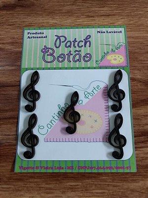 Patch Botão MDF (Não lavável) - Nota Musical 2 - (3,5 cm) - Pacote com 5 unidades