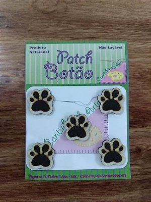 Patch Botão MDF (Não lavável) - Patinhas - (2,5 cm) - Pacote com 5 unidades