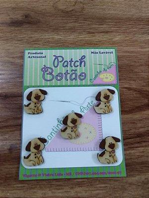 Patch Botão MDF (Não lavável) - Cachorro - (2,5 cm) - Pacote com 5 unidades