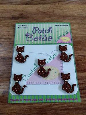 Patch Botão MDF (Não lavável) - Gato com Poá - (2,5 cm) - Pacote com 5 unidades