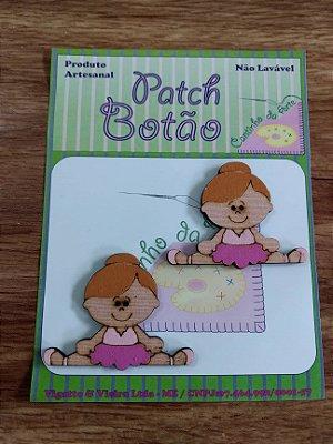 Patch Botão MDF (Não lavável) - Bailarina - (3,5 cm) - Pacote com 2 unidades