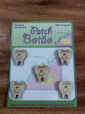 Patch Botão MDF (Não lavável) - Dentes - (2,5 cm) - Pacote com 5 unidades