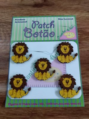 Patch Botão MDF (Não lavável) - Leão - (3 cm) - Pacote com 5 unidades