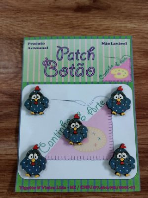 Patch Botão MDF (Não lavável) - Galinha Pintadinha - (2,5 cm) - Pacote com 5 unidades