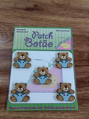 Patch Botão MDF (Não lavável) - Urso Azul Pequeno - (2,5 cm) - Pacote com 5 unidades
