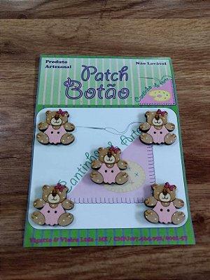 Patch Botão MDF (Não lavável) - Urso Rosa Pequeno - (2,5 cm) - Pacote com 5 unidades