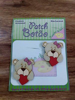Patch Botão MDF (Não lavável) - Ursa com Coração - (4 cm) - Pacote com 2 unidades