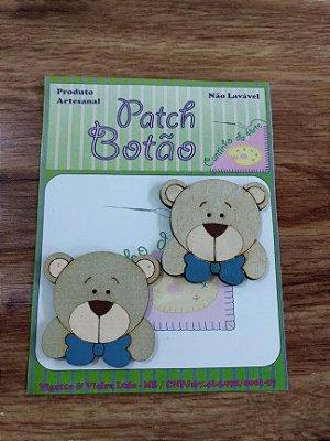 Patch Botão MDF (Não lavável) - Urso com gravata - (4 cm) - Pacote com 2 unidades