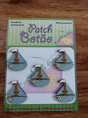 Patch Botão MDF (Não lavável) - Barco - (3 cm) - Pacote com 5 unidades