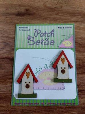 Patch Botão MDF (Não lavável) - Casa de Passarinho - (5 cm) - Pacote com 2 unidades