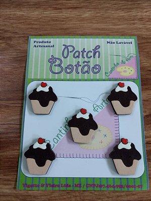 Patch Botão MDF (Não lavável) - Cupcake - (2,5 cm) - Pacote com 5 unidades