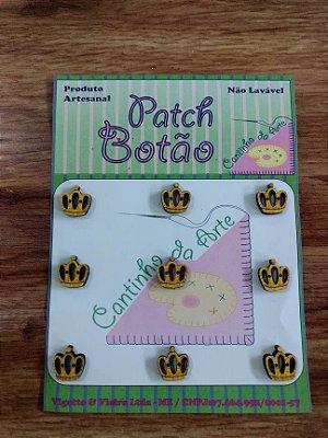 Patch Botão MDF (Não lavável) - Mini Coroa - (0,8 cm) - Pacote com 9 unidades