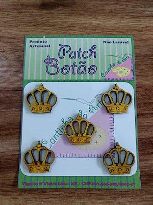 Patch Botão MDF (Não lavável) - Coroa Amarela Grande - (2,5 cm) - Pacote com 5 unidades