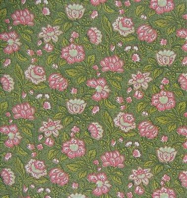 Tecido Tricoline Floral Brigitte Bardot - Fundo Verde Musgo - Coleção Estrelas do Cinema  - 50 cm x 150 cm
