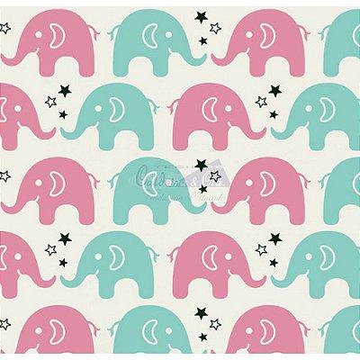 Tecido Tricoline Estampa de Elefante Rosa e Tiffany - Preço de 50 cm X 150 cm