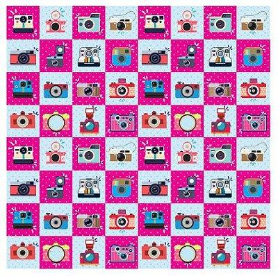 Tecido Estampa Exclusiva de Profissões - Fotografia - 100% poliéster - Preço de 80cm x 60cm
