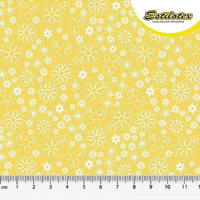 Tecido Tricoline Mini Floral - Fundo Amarelo - Preço de 50 cm x 150 cm