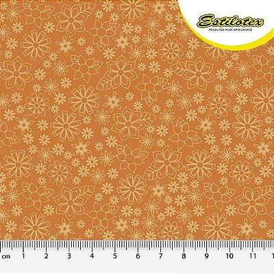 Tecido Tricoline Mini Floral - Fundo Laranja - Preço de 50 cm x 150 cm