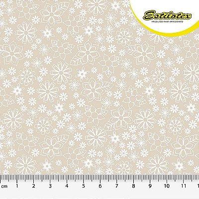 Tecido Tricoline Mini Floral - Fundo Areia - Preço de 50 cm x 150 cm