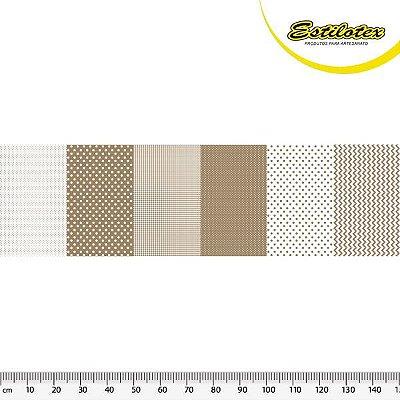 Tecido Tricoline em Faixas: Poá, Xadrez e Chevron - Areia - Preço de 50 cm x 150 cm