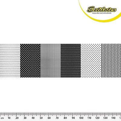 Tecido Tricoline em Faixas: Poá, Xadrez e Chevron - Preto - Preço de 50 cm x 150 cm
