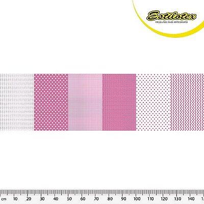 Tecido Tricoline em Faixas: Poá, Xadrez e Chevron - Rosa - Preço de 50 cm x 150 cm