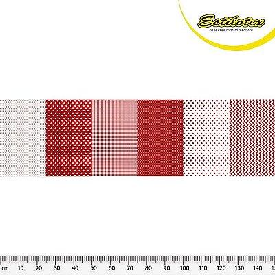 Tecido Tricoline em Faixas: Poá, Xadrez e Chevron - Vermelho - Preço de 50 cm x 150 cm