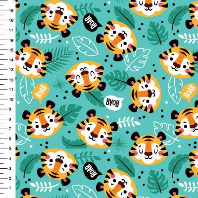 Tecido Digital - Tigres - Fundo Verde- Preço de 50cm x 150cm